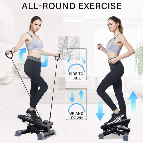 (Y482)HAPICHIL Steppers for Exercise, Mini Stair Under Desk Bike Pedal Exerciser with LCD Monitor & Resistance Bands