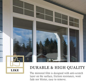 (E722)WochiTV One Way Window Film, Privacy Window Tint for Home, UV Blocking Mirror Reflective Heat Control Glass Film Non Adhesive Static Cling