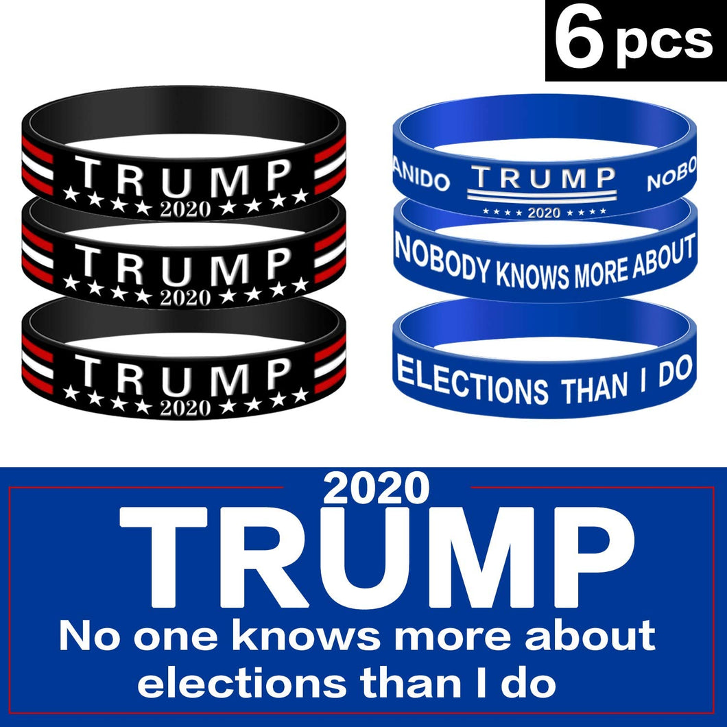 (F061)ZEJUN Trump 2020 Silicone Bracelets - Inspirational Motivational Wristbands,Adults Unisex Gifts for Teens Men Women Boy Girl 6 Pieces