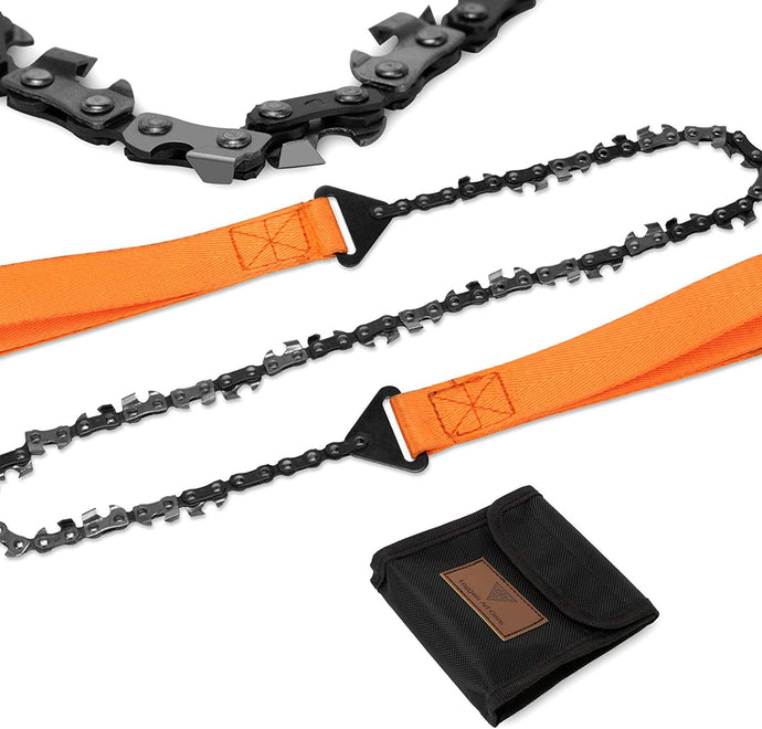 (Y640) Loggers Art Gens 24'' Teeth Pocket Chain Saw,3X Faster with Cutting Blade ON Every Link,Best Compact Folding Hand Saw Tool for Survival Gear,Camping,Hunting.