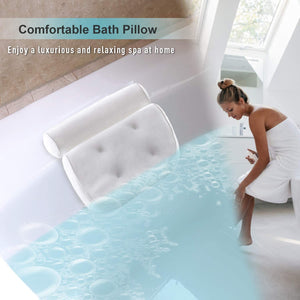 (Y192)Bath Pillow Bathtub Pillow - Bath Pillows for Tub with Neck, Head, Shoulder and Back Support - 3D Air Mesh Spa Bath Pillow, Non-Slip, Extra Thick, Soft and Quick Dry Spa Pillow