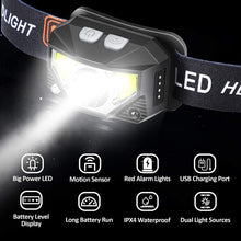 Load image into Gallery viewer, (R566)Rechargeable Headlamp Flashlight, AUSHEN 800 Lumen Brightest LED Head Lamp with White Red Light