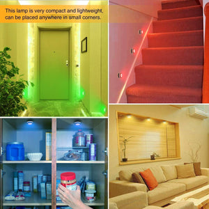 (Q233) LED Closet Lights Wireless Color Changing RGB Puck Lights with 2 Remote Controls Dimmable