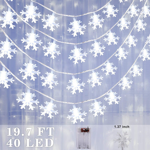(F150)Christmas Snowflake String Light 19.7ft 40 LED Fairy Lights Battery Operated for Xmas Garden Patio Bedroom Party Decor Christmas Decorations Cold White