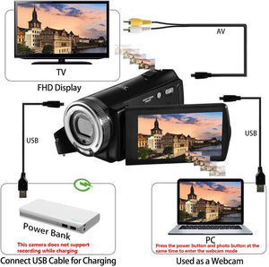 (V265)Camcorders ORDRO HDV-V12 HD 1080P Video Camera Recorder Infrared Night Vision Camera Camcorders with 16G SD Card and 2 Batteries