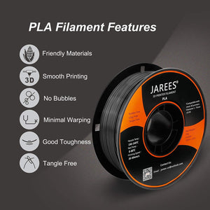 (G314)PLA Filament 1.75mm with 3D Build Surface,JAREES Black PLA 3D Printer Filament Dimensional Accuracy +/- 0.02 mm...