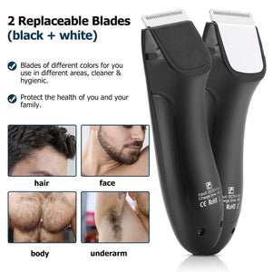 (D536)Kilison Groin Hair Trimmer for Men, Waterproof Wet/Dry Body Trimmer with 2 removable Ceramic Blade, Electric Beard Trimmer