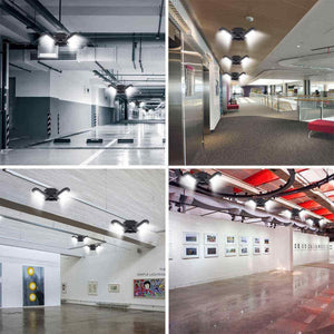 (V130)Deformable LED Garage Light - 6000 Lumen 6500K Daylight 60W, Three Leaf Beyond Bright Garage Organization Ceiling Lighting