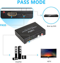 Load image into Gallery viewer, (E774) HDMI Audio Extractor 4K, Tiancai HDMI to HDMI + RCA R/L or Optical SPDIF Converter, Compatible with Chromecast Fire Stick