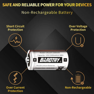 (T960)CR123A 3V Lithium Battery [2 Pack 1500mAh Each] Bardtry Non-Rechargeable Longer Battery Life 3V Batteries for Arlo Cameras Flashlight, Polaroid, House Alarm