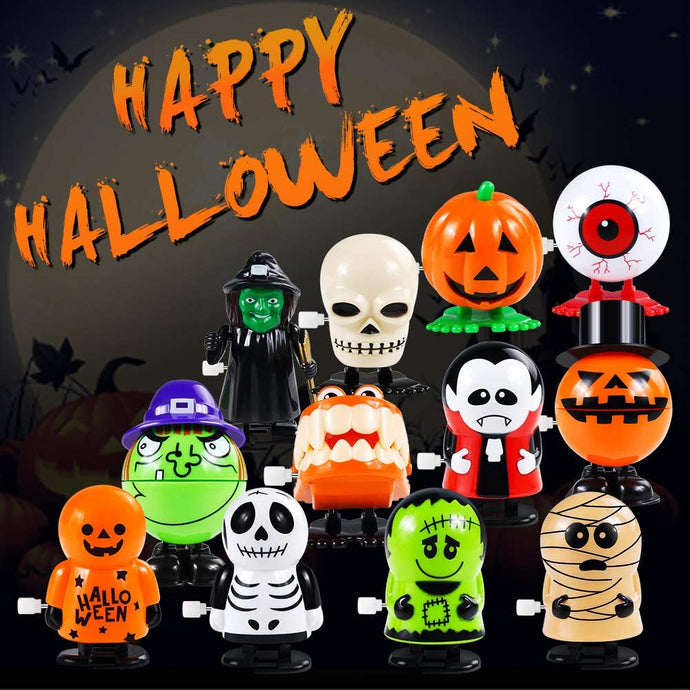 (T912)12 Pack Halloween Wind Up Toys for Kids, Assorted Novelty Jumping and Walking Clockwork Toys for Halloween Party, Favors Gift Goody Bag Filler Stocking Stuffers and Fun Decoration
