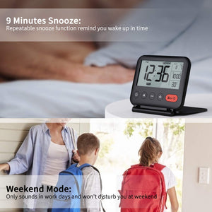 (H330)NOKLEAD Digital Travel Alarm Clock – Mini Portable LCD Display Clock with Backlight Calendar Temperature Snooze 12/24H Makeup Mirror, Small Folding Battery Operated Desk Clock