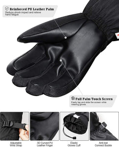 (S240)Glisteny Mens Ski Gloves Women Waterproof Snowboard Touchscreen Winter Gloves 3M Thinsulate Windproof   Snow Gloves Breathable Warm Leather Gloves