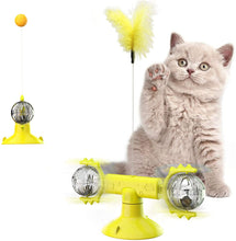 Load image into Gallery viewer, (H210)Windmill Cat Toy, Interactive Toys for Indoor Cats, Catnip Toys with Suction Cup Light Ball Retractable Wand Feather Toys and Balls