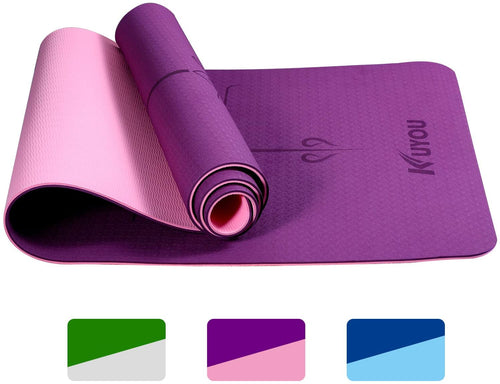 (Y513)KUYOU TPE Yoga Mat Non Slip with Alignment Lines, 1/4 inch Thick Travel Fitness Exercise Workout Yoga Mat Pad Cover Foldable with Carry Strap Bag for Yoga, Pilates, Gym