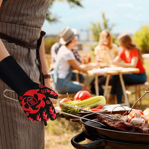 (T473)Prosperbiz BBQ Gloves, 1472℉ Extreme Heat Resistant Oven Grilling Gloves, Silicone Non-Slip Kitchen Oven Mitts, Hot Cooking Oven Gloves