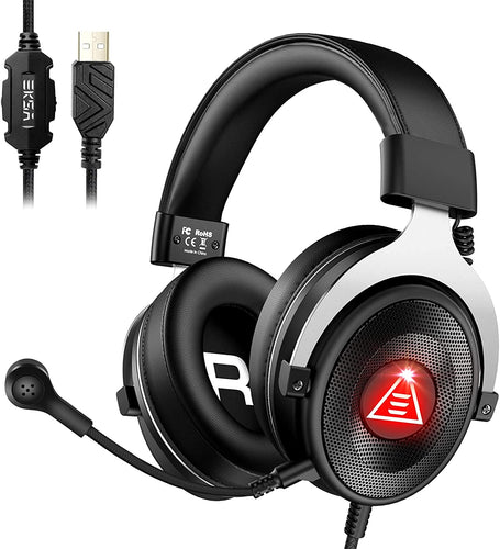 (K901) PC Gaming Headset with Microphone, EKSA E900 Plus ENC 7.1 Surround Sound Wired Over Ear USB Computer Gaming Headset Headphone