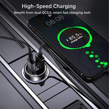 Load image into Gallery viewer, (S466)Car Charger, NEEKFOX Mini Dual Port Car Charger, 27W Metal USB Charger Voltage Display with Power Delivery Quick Charge 3.0, Car Adapter Compatible