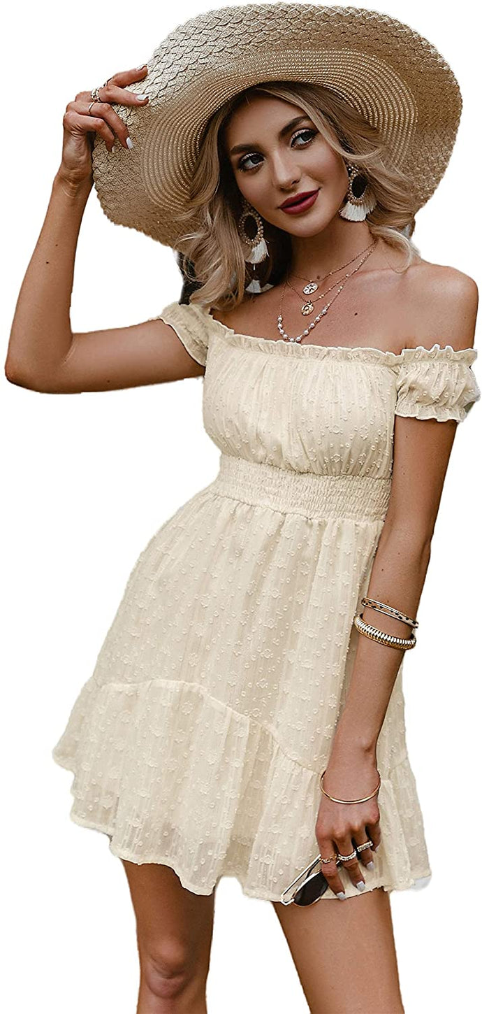 (M584)GRACEVINES Women's Summer Off Shoulder Smocked Mini Dress Floral a Line High Waist Ruffle Swing Boho Beach Sundress