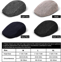 Load image into Gallery viewer, (C475)Hitro Newsboy Wool Blend Herringbone Hats for Men Flat Cap Ivy Gatsby Paperboy Hat