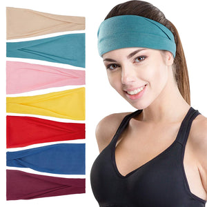 (R638)Wanap Headbands for Women, 7 Pack Running Headband, Colorful Wide Stretchy Sweat Band Perfect for Running, Yoga, Cycling etc. Non Slip Wrap Hair Bands