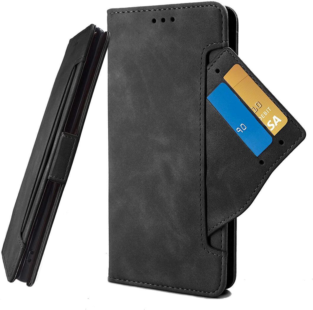 (A988)D DESSVON Samsung Galaxy A51 Case Wallet 4G with 5 Card Holder Black, Galaxy A51 Flip Leather Case with Kickstand Magnetic Closure Phone Protective Case Cover
