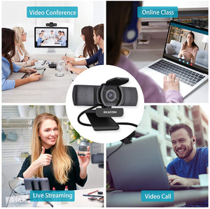 (S730)Webcam with Microphone,EKACOM HD 1080P Web Camera for PC Computer Laptop Desktop ,USB Plug and Play Autofocus Web Cam