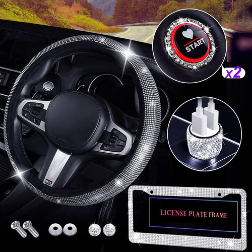 (Y323)Bling Car Accessories for Women, Diamond Steering Wheel Cover with Bling Fit 15'', Bling License Plate Frame for Women, Bling USB Car Charger Bling Ring Emblem Sticker Bling Car Decor
