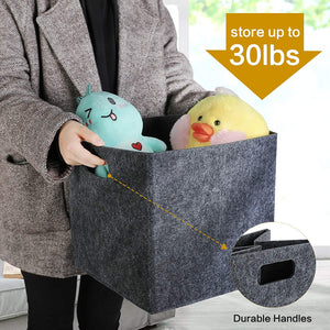 (S317)GOHOME Foldable Storage Cubes 4 Pack, Cube Storage Bins with Dual Handles, Felt Storage Baskets
