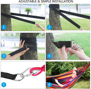 (T040)BUSATIA Tree Swing Straps (Set of 2), Tree Hanging Kits 5ft Length with 2 Heavy Duty Safety Lock Carabiner Hooks, Polyester Straps Perfect