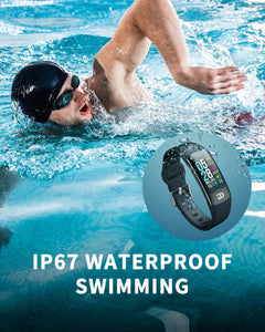(T354)Jiandi SPO2 Blood Oxygen Monitor Fitness Tracker with Heart Rate Chest Strap, IP67 Waterproof Blood Pressure HRV Health Sleep Smart Watch Activity Tracker
