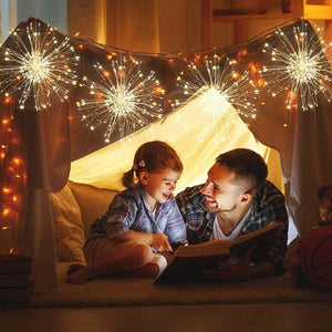 (Y911)Haliluya 4 Pack 120 LED Copper Wire Firework Lights,Battery Operated Starburst Light with Remote,8 Modes String Fairy Lights Waterproof,Decorative Hanging Lights