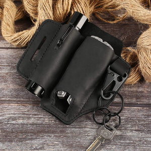 (H960)Ferry Pier Original Leather Sheath for Leatherman Multitool EDC Case Pocket Organizer with Key Holder Multitool Pouch for Belt, Flashlight