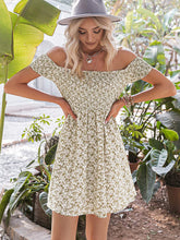 Load image into Gallery viewer, (M538) Miessial Women's Cute Off Shoulder Print Mini Dress Summer Casual Short Sleeve Swing Dress