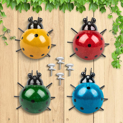 (Y086)GORNORVA 4PCS Metal Insect Wall Decor,Cute Metal Ladybugs Outdoor Wall Sculptures Outdoor Decor Wall Metal Ladybugs Art