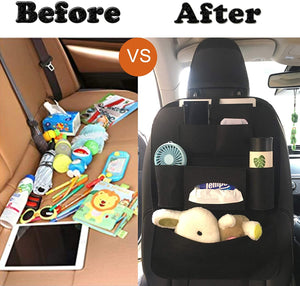 (H225)GREATEE Car Backseat Organizer and Storage, 6 Storage Pockets with Tissue Box, Back Seat Protector Kick Mats