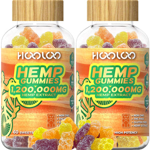 (V300)2 Pack Hemp Gummies, HOOLOO 1,200,000MG Vegan Fruity Hemp Gummy Bears for Relaxing, Sleep Better, Reduce Stress Anxiety, Natural Hemp Extract Gummies