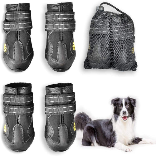 (H300)Easiestsuck Dog Boots 4 Pcs,Waterproof Dog Shoes,Outdoor Dog Snow Boots,Dog Booties with Two Layers Adjustable Tightness Reflective Velcro,Rugged & Anti