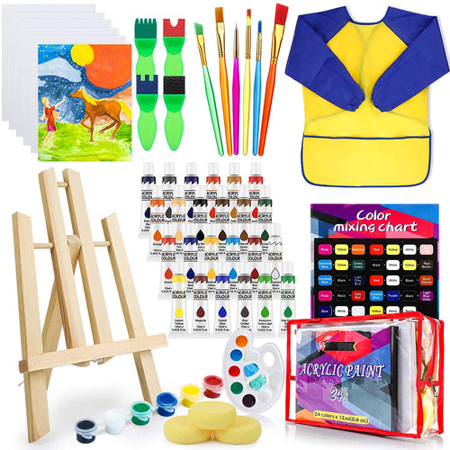 (H067)Deluxe Paint Set for Kids, Non-Toxic Toddler Paint Kit with Table Top Easel, Smock, and Drawing Board, Sponge Brushes, Acrylic Canvas...