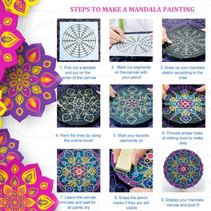 (D672)GORNORVA 35PCS Mandala Dotting Tools Stencil Mandala Painting Tool Kits Brushes Paint Tray Paint Brushes for Rock Painting Coloring Drawing and Drafting Art Supplies
