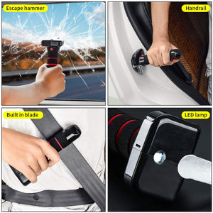 (D293)Car Mobility Aid Standing Support,Portable Vehicle Support Handle All-in-One Auto with Built in LED Light Seatbelt Cutter and Window Breaker