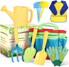 Load image into Gallery viewer, (X260)AUSHEN Kids Garden Tools Set, Gardening Tools for Kids with Watering Can, Rake, Shovel, Trowel, Gloves, Kids Smock and 5 Plant Tag...