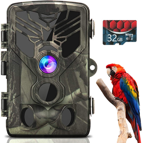 (V801)Trail Camera 1080P 20MP, Trail Cam with 32GB Card, Game Cameras with Night Vision Motion Activated Waterproof, Hunting Camera
