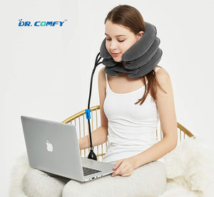 (D807)Cervical Neck Traction Device & Collar Pillow-Dr.Comfy, Adustable Inflatable and Soft Neck Brace and Strether for Neck Pain Relief, Stress Relief, Chronic Neck Pain