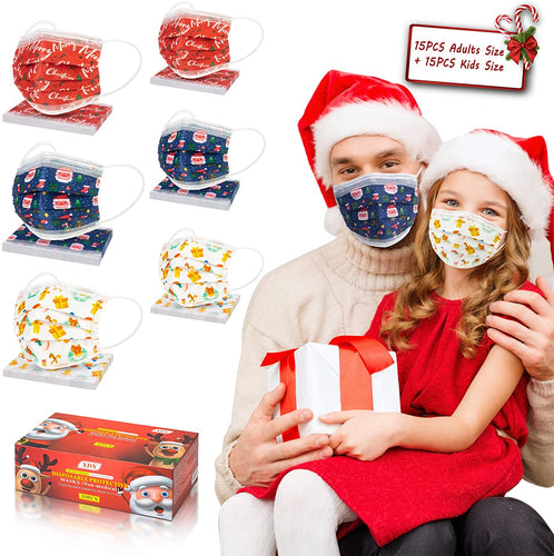 (V222)XDX Christmas Face Mask, Breathable Face Masks, 3 Layer Protection Christmas Masks with Adjustable Ear Loops- 3 Cute Patterns for Kids and Adults