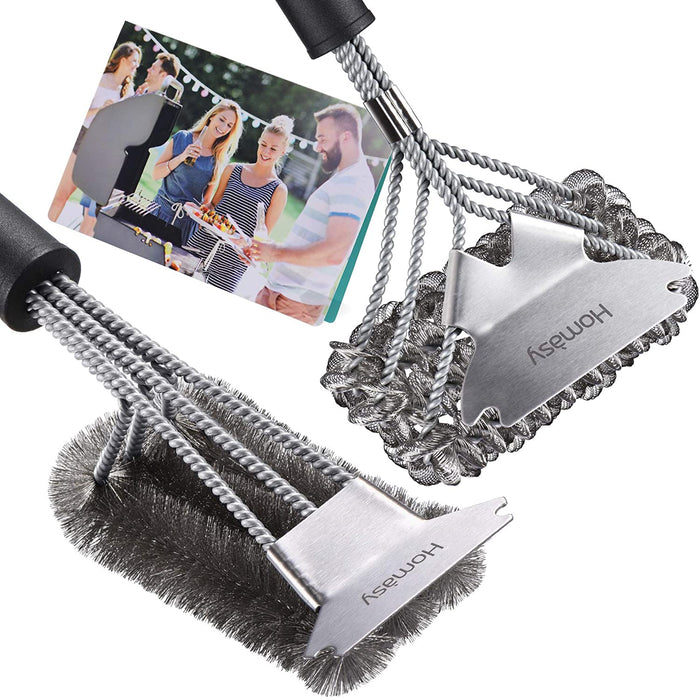 (K860)Homasy Grill Brush Set, 2 x 18