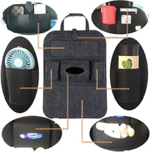 Load image into Gallery viewer, (H225)GREATEE Car Backseat Organizer and Storage, 6 Storage Pockets with Tissue Box, Back Seat Protector Kick Mats
