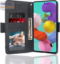 Load image into Gallery viewer, (A988)D DESSVON Samsung Galaxy A51 Case Wallet 4G with 5 Card Holder Black, Galaxy A51 Flip Leather Case with Kickstand Magnetic Closure Phone Protective Case Cover