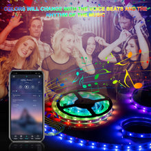 Load image into Gallery viewer, (H840)LED Strip Lights, 32.8ft RGB LED Light Strips 300 LEDs SMD5050 Color Changing Light Strips, Voice and Music Sync Smart LED Tape Lights