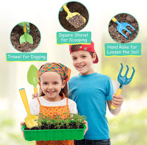 (X260)AUSHEN Kids Garden Tools Set, Gardening Tools for Kids with Watering Can, Rake, Shovel, Trowel, Gloves, Kids Smock and 5 Plant Tag...